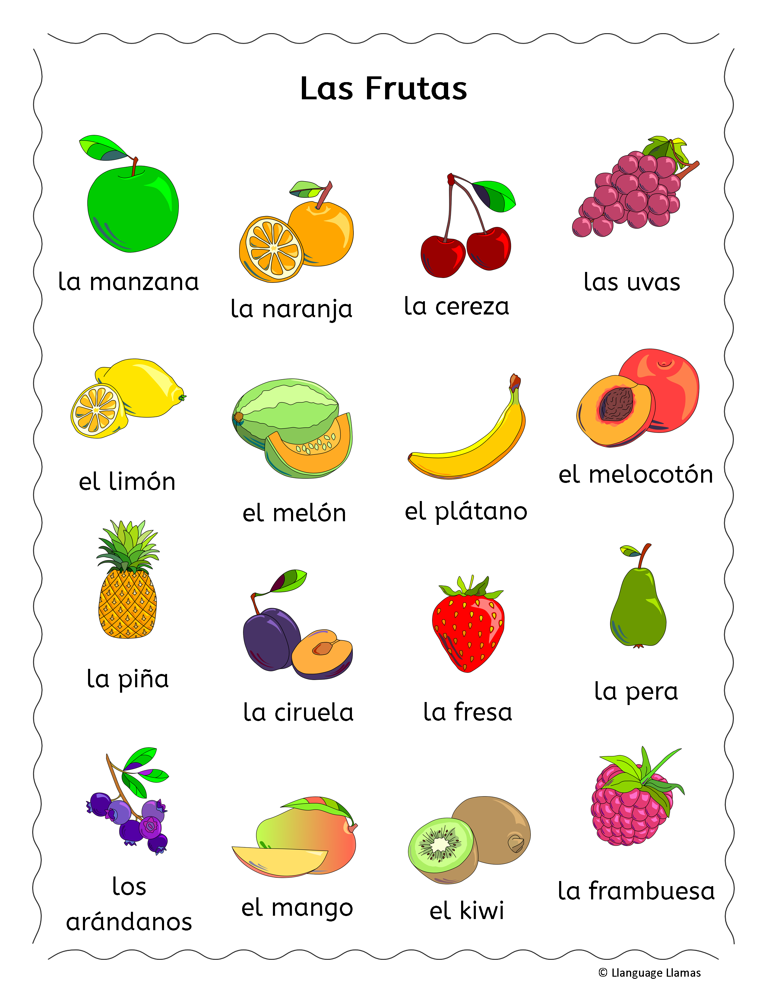 Spanish Fruit Vocabulary