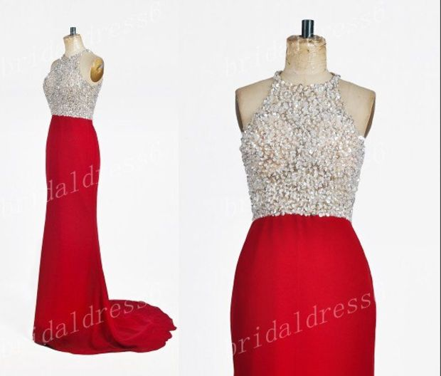 2014Beads White Crystals Halter Red Long Bridesmaid Celebrity Dress,Court Train Chiffon Formal Evening Party Prom Dress New Homecoming Dress