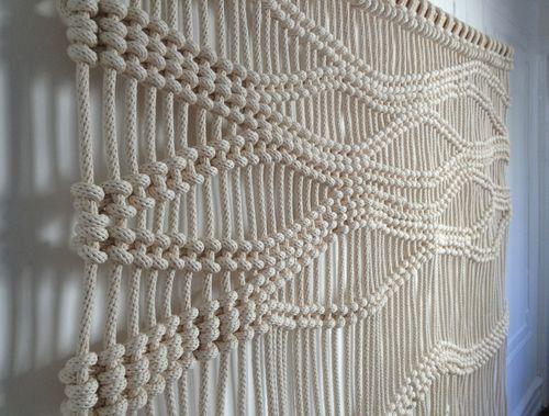 Naurual Undyed Cotton Macrame Custom Sizes Availble Macrame Done In Contemporary Way Elevates Any Space Made With Thick Nau Makrame Gobeleny Kanaty Makrame