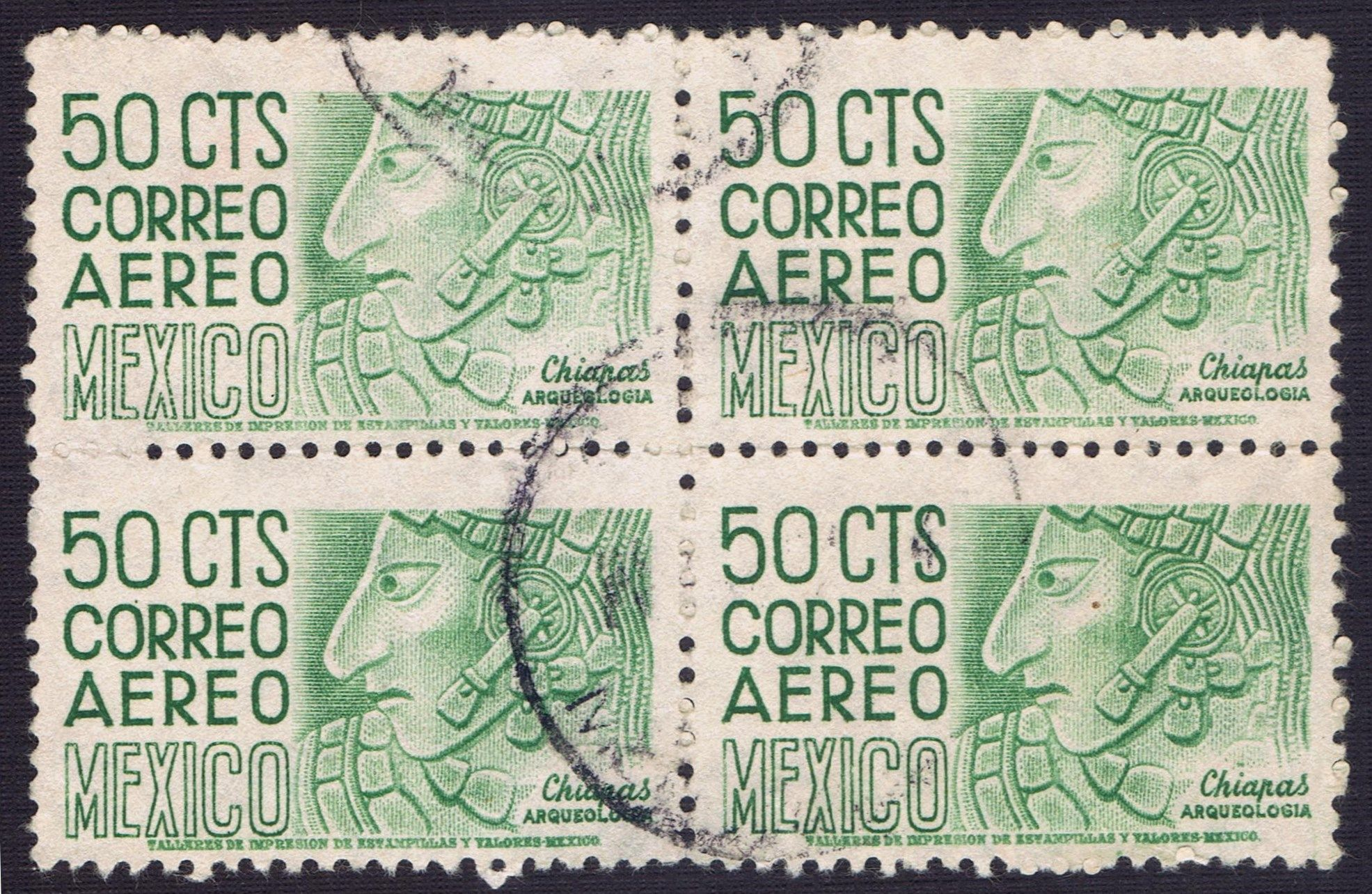 50 cts correo aereo mexico postage stamp chiapas for Correo postal mas cercano