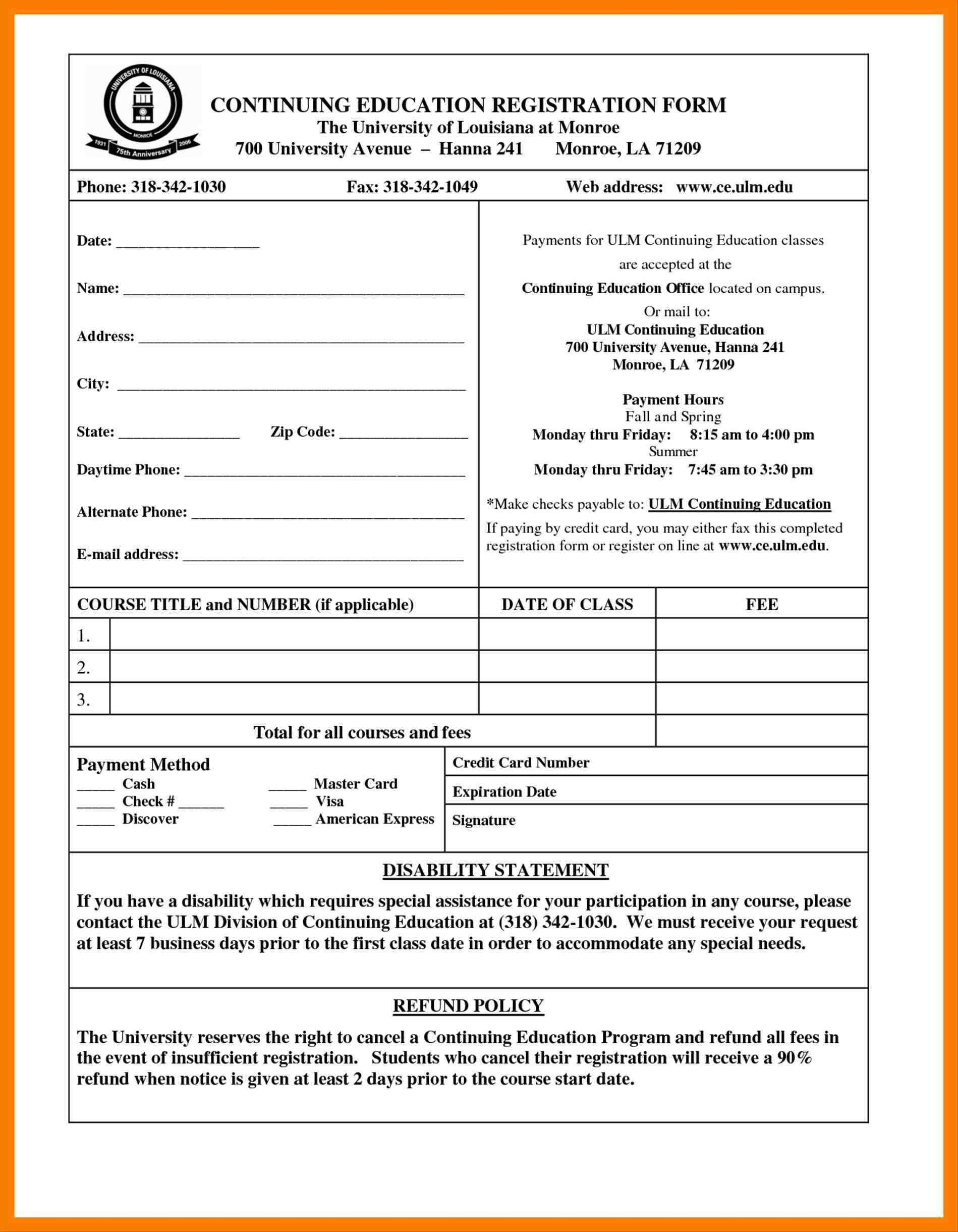 Course Enrolment Form Template Word Template Word Free
