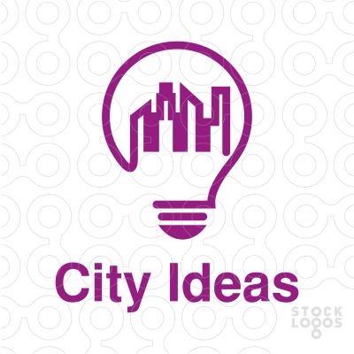 Logo Design Of A Light Bulb With City Skyline Creative Creativity Cityscape Energy Power Smart Real E Logo Design Creative Energy Logo Light Bulb Logo