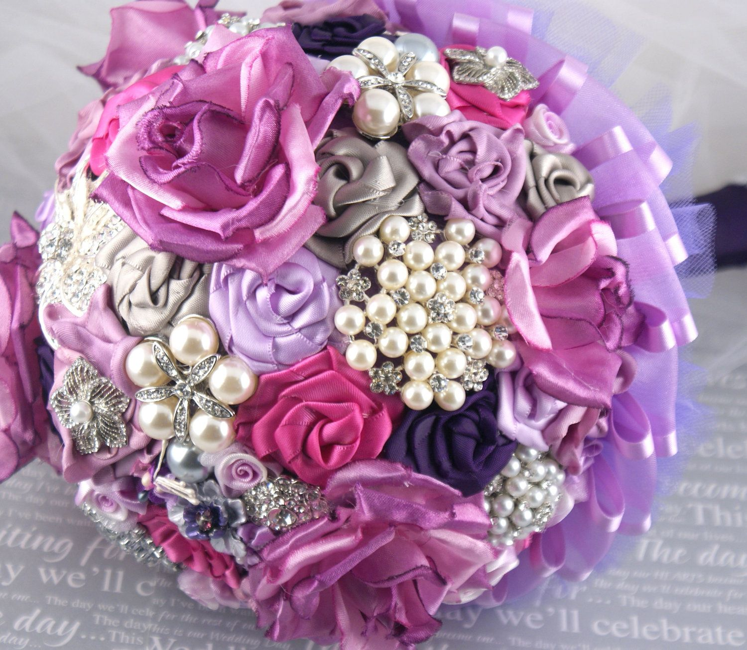 Brooch Bouquet Bridal Bouquet Jeweled Bouquet in Lilac, Plum and ...
