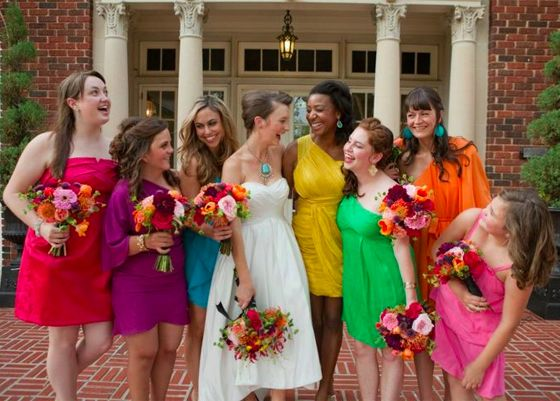 My Wedding Dress Each Bridesmaid Wear A Different Color Bright Bridesmaid Dresses Bridesmaid Dresses Different Colors Rainbow Bridesmaids