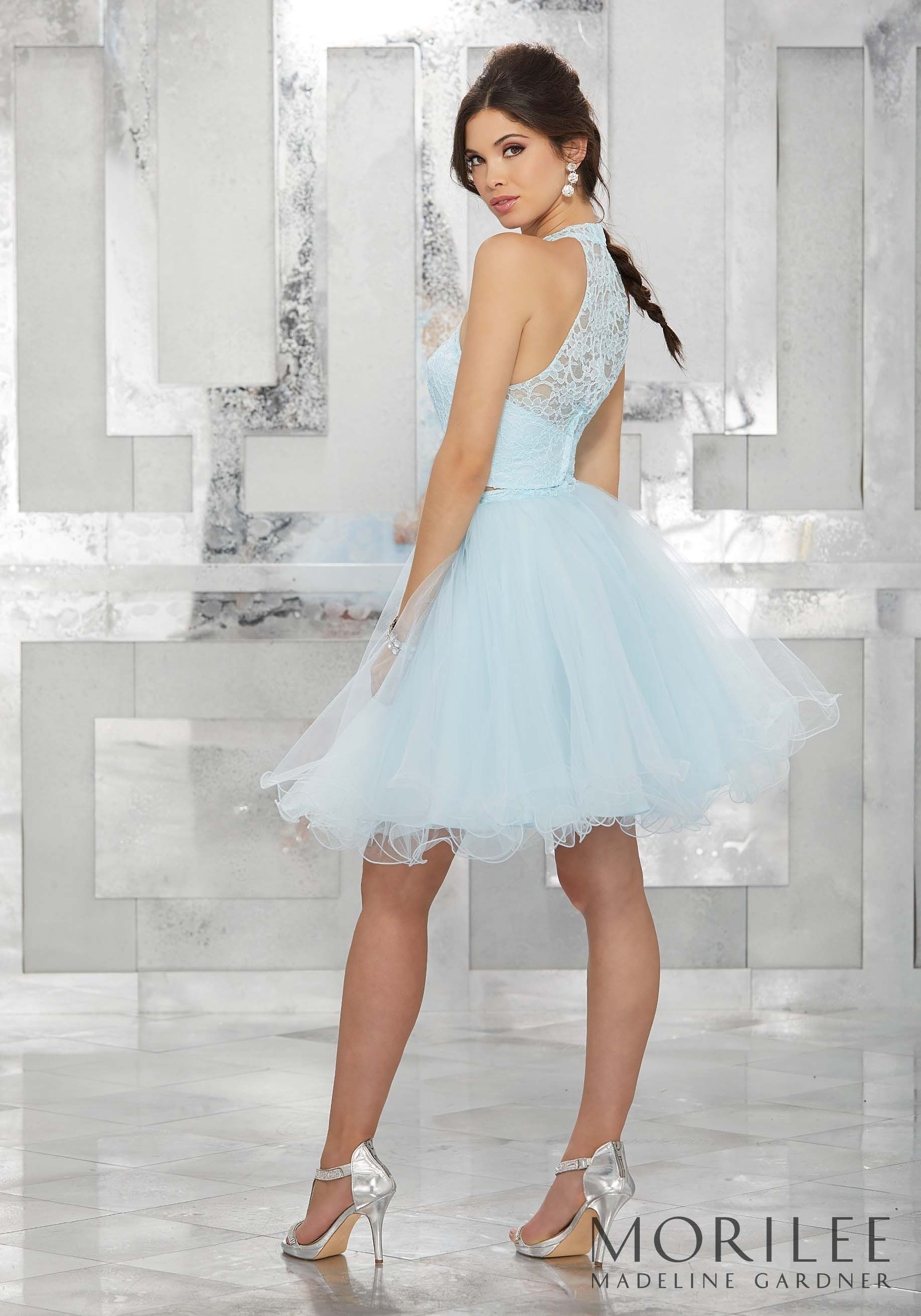 Light Blue Two Piece Party Dress With High Halter Lace Bodice And Tulle Skirt Colors Available Blush Light Blue Mint Tulle Skirt Damas Dresses Party Dress [ 2620 x 1834 Pixel ]