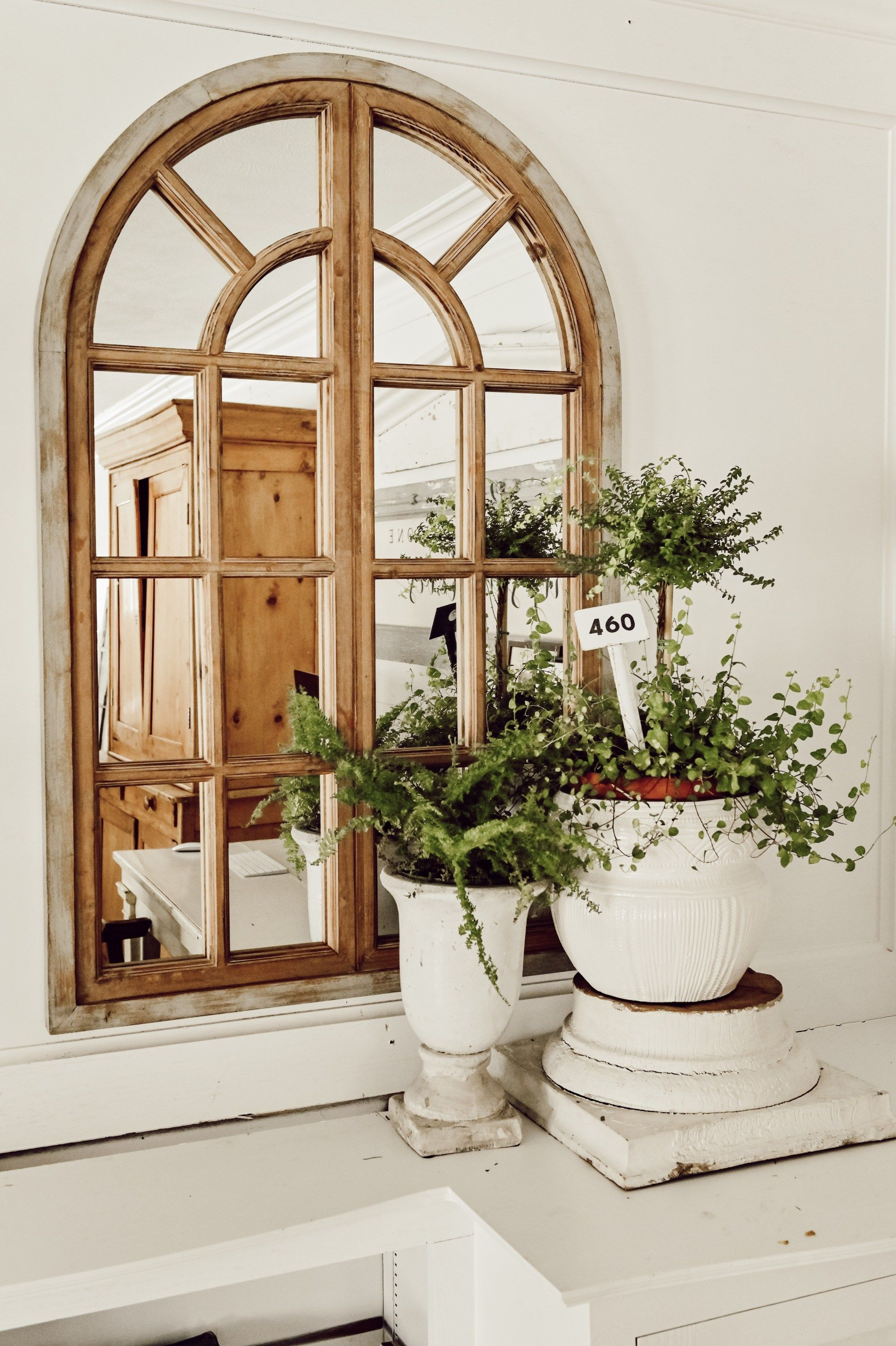 Rustic Farmhouse Arched Window Mirror Spring Living Room Decor
