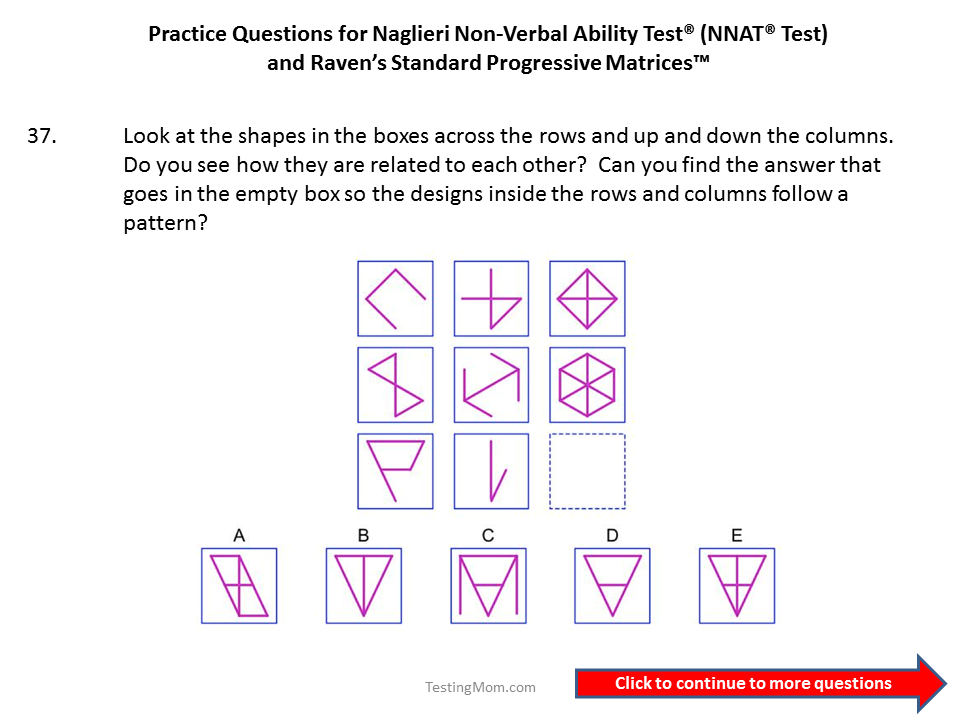 Practice questions for the Naglieri Nonverbal Ability Test