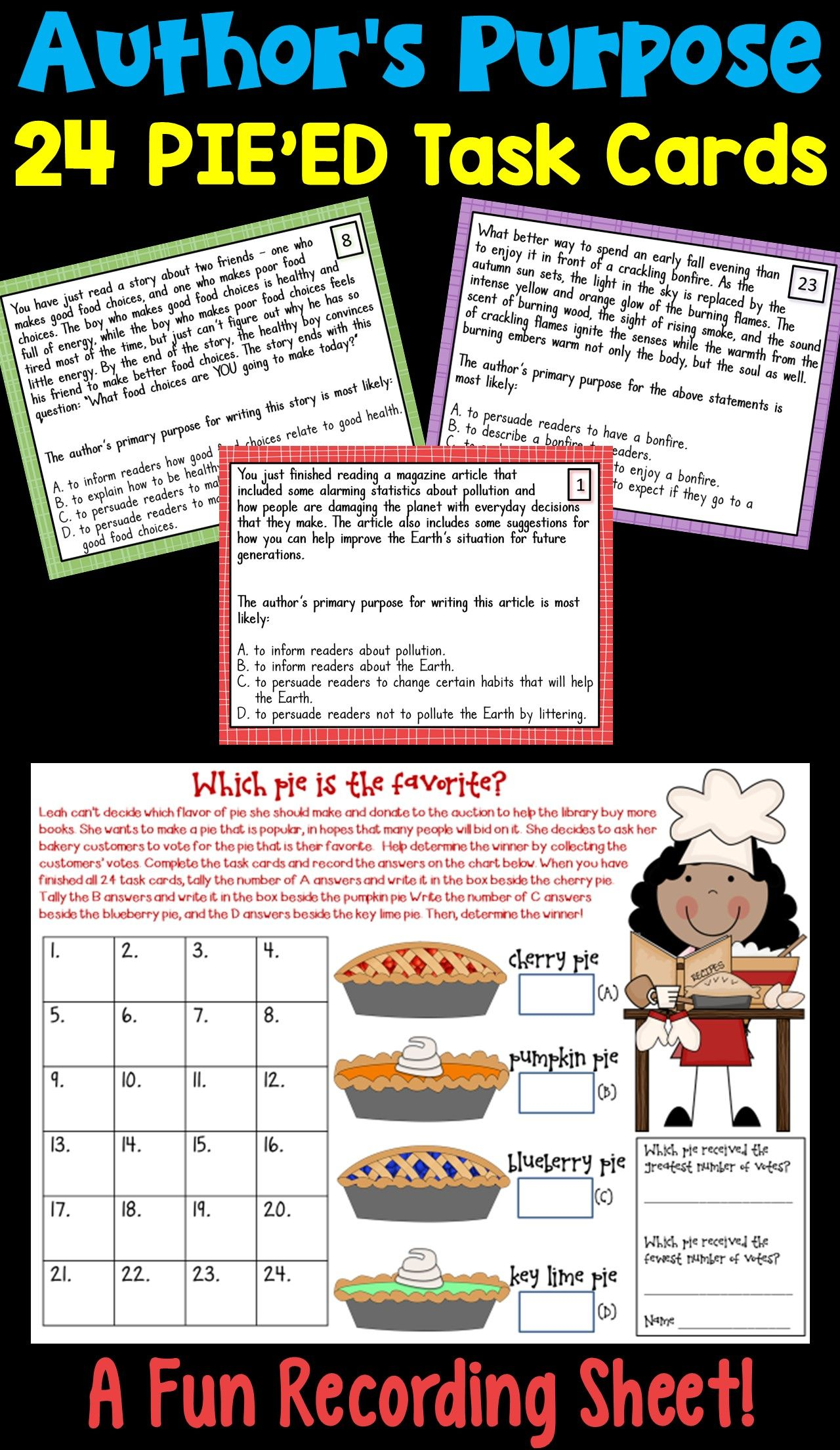 Author S Purpose Task Cards Featuring The Pie Ed Approach