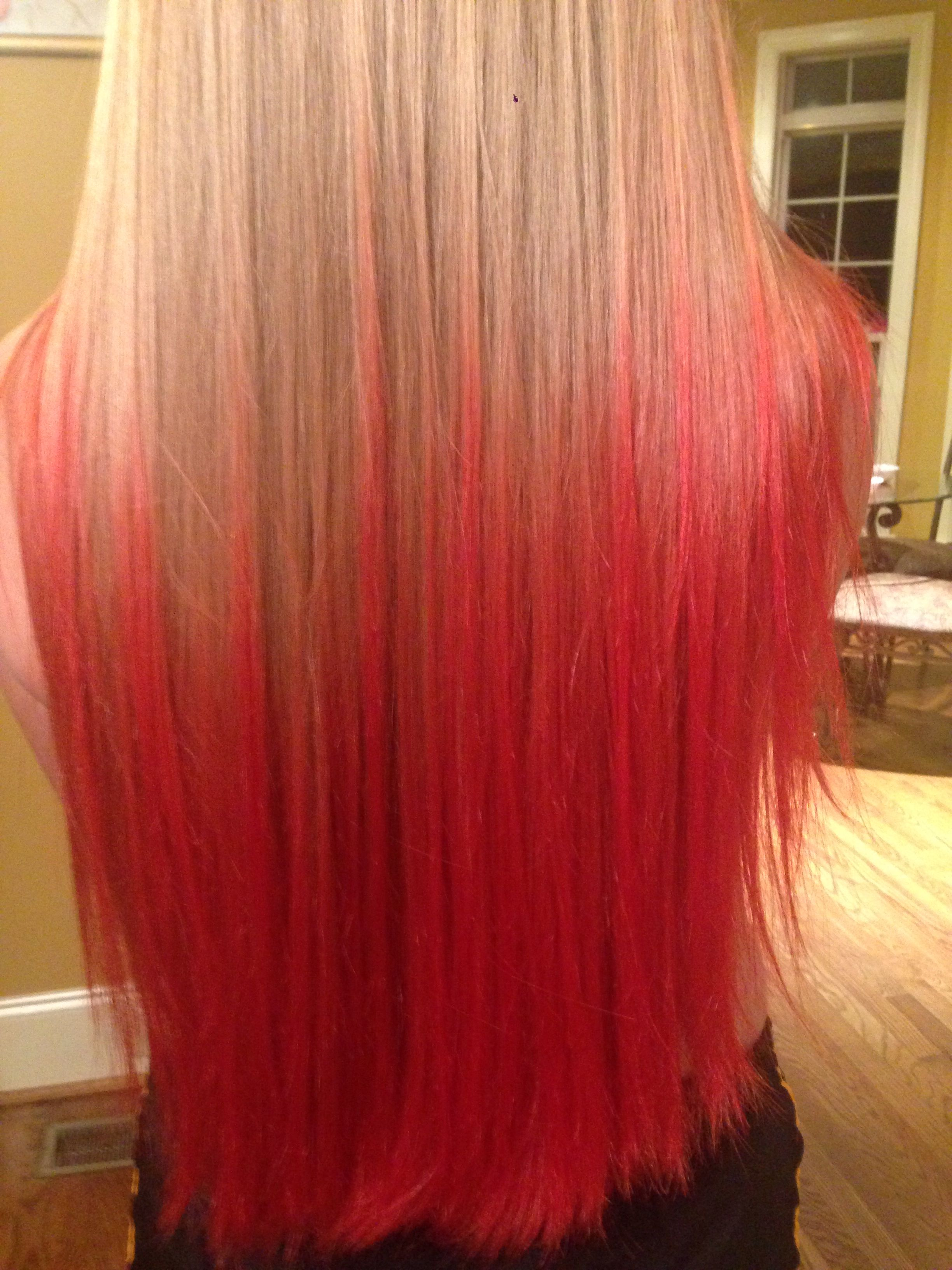 Kool Aid Dip Dyed Hair Cherry Strawberry And Pink Lemonade Kool Aid Hair Hair Dye Tips Dip Dye Hair