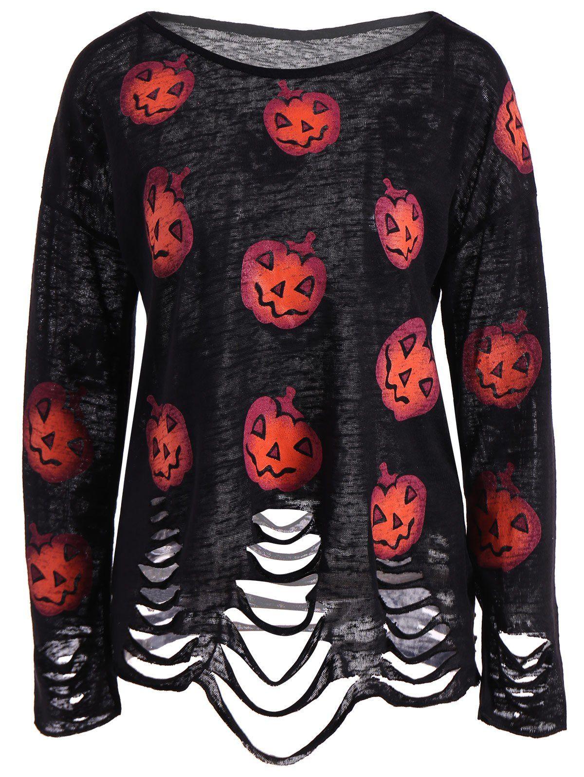 Pumpkin Halloween Ripped Knitwear In Black L Sammydress Com Halloween Fashion Halloween Outfits Clothes