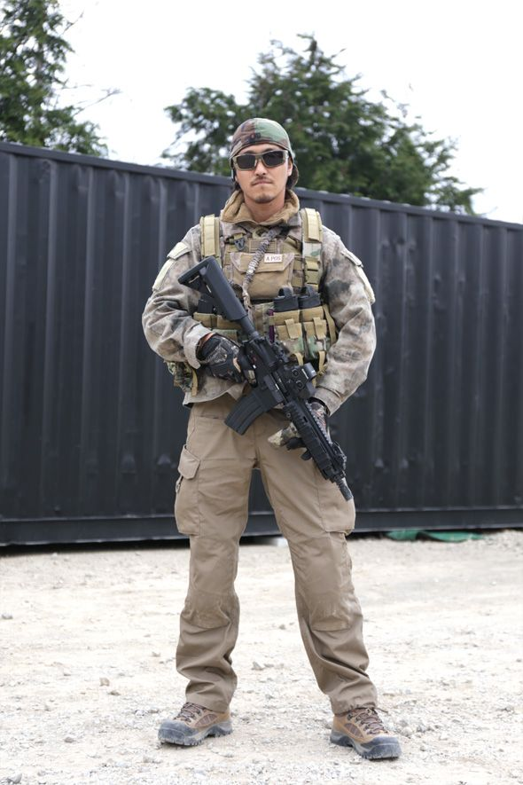 Airsoft Player in Japan. Fashion Photo. A-TACS AU camo jacket. Military. Gun. Combat