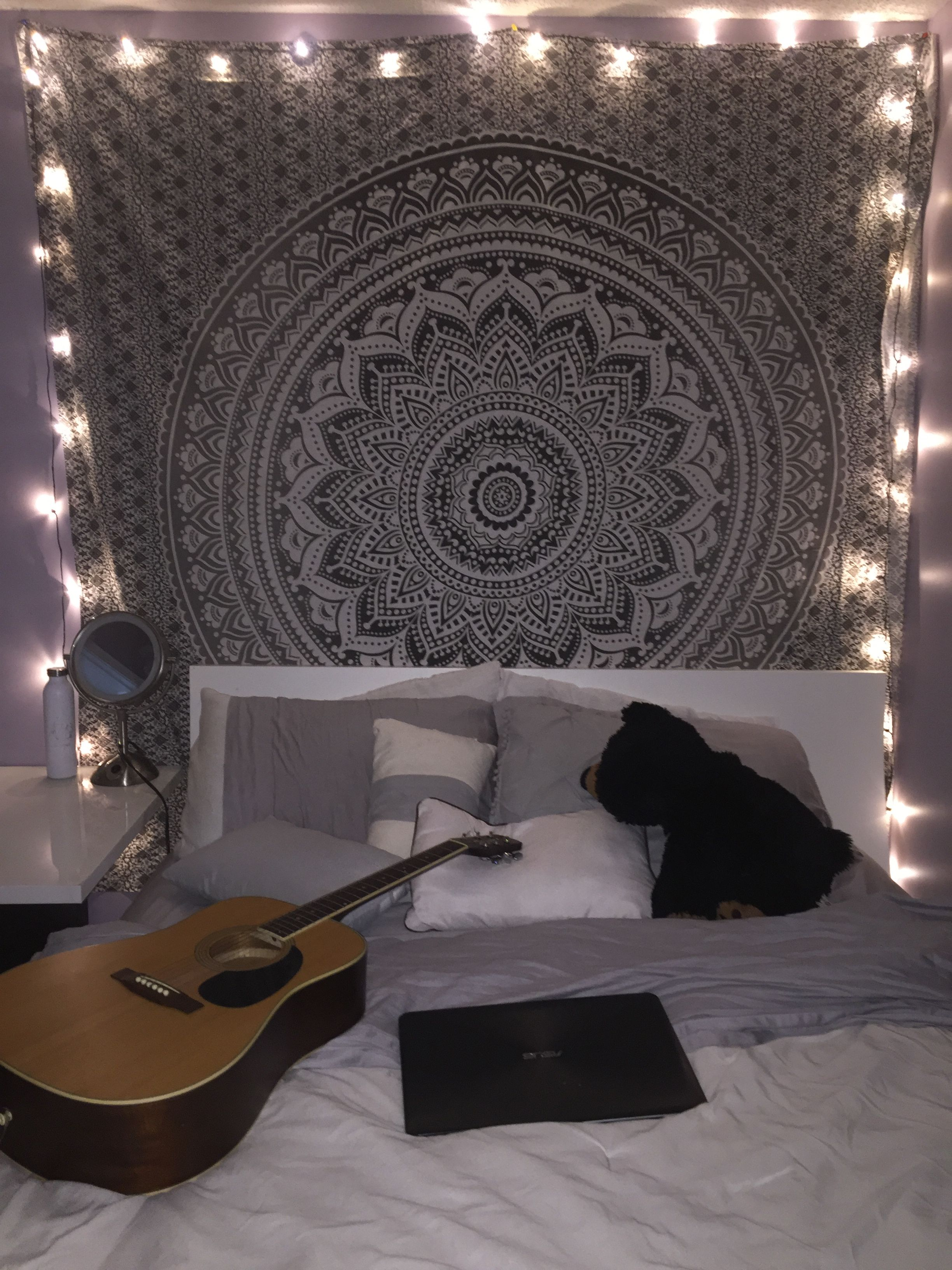 New Room Tapestry With Lights:) #room #tapestry #blacku0026white