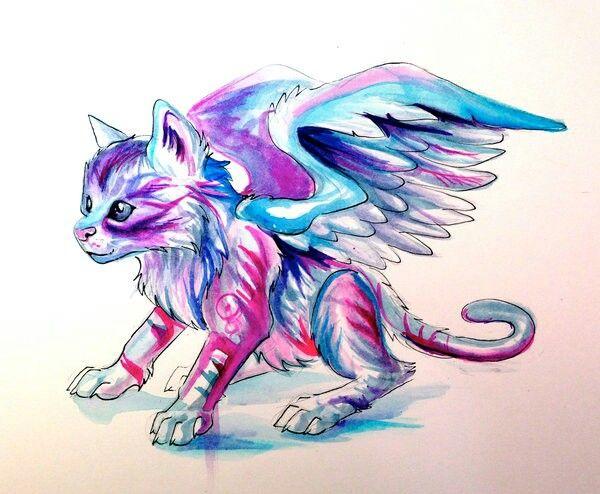 Chat ail tattoos illustration art art et watercolor art - Petit quick coloriage ...