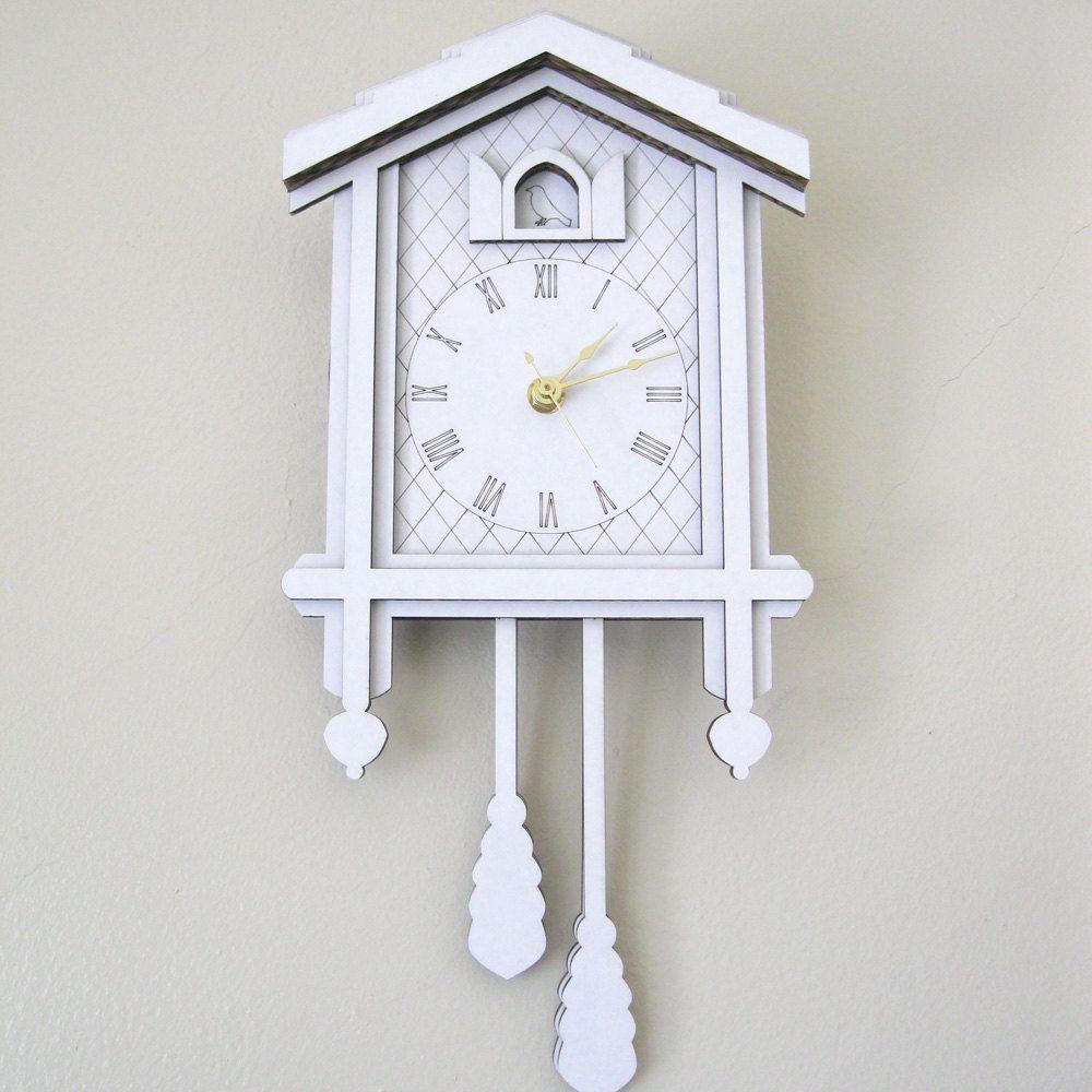 White Cuckoo Clock Modern Laser Cut Cardboard Wall Decor 42 00 Via Etsy