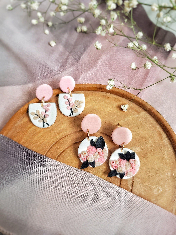 Pink Flower Polymer Clay Earrings