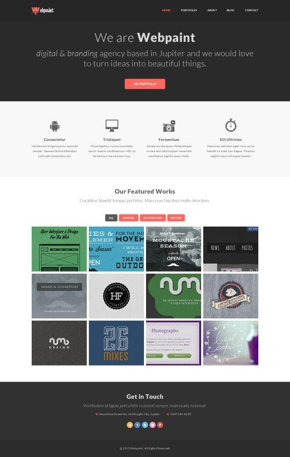 Website Layout Template Webpaint #free #homepage #layout #portfolio #psd  W E B