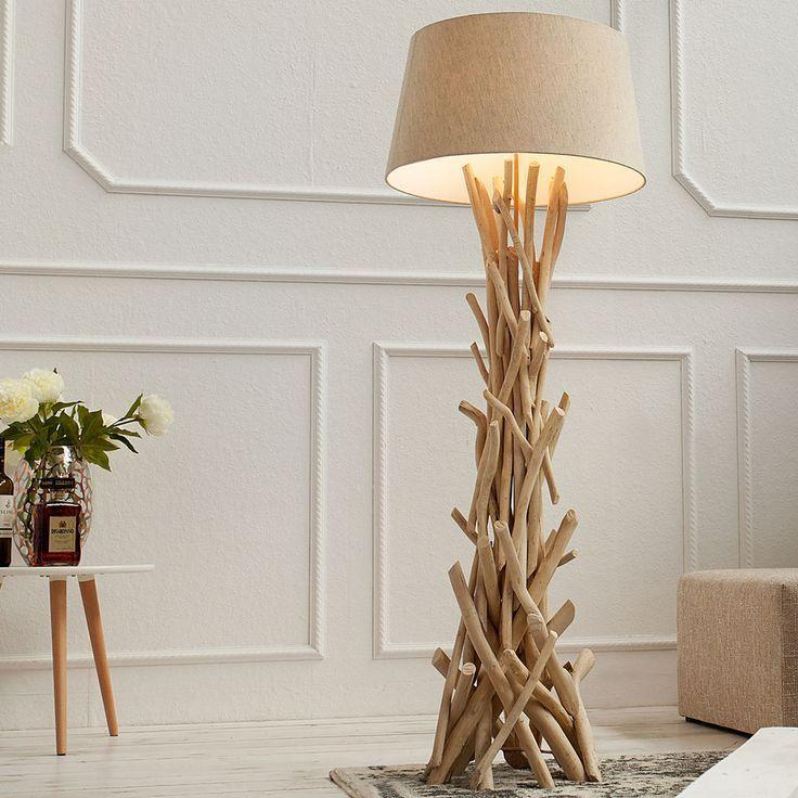 Stehlampe Treibholz Stehleuchte DRIFTWOOD 155cm sand Design Schwemmholz Lampe
