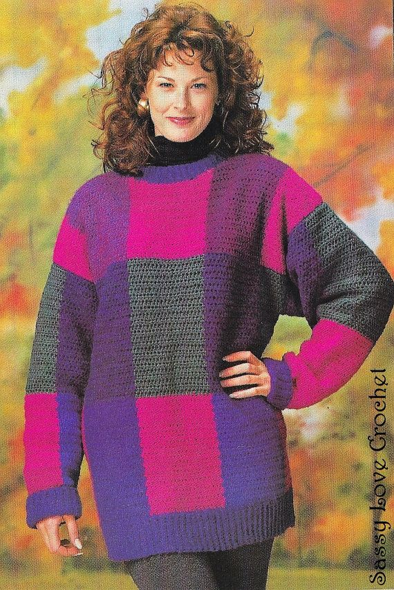 Crochet Turtleneck Pullover Sweater Pattern, Womens Crochet Fall ...