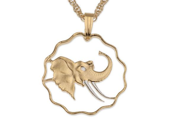 Elephant Pendant & Necklace Swaziland Coin Hand Cut by Coinjewelry