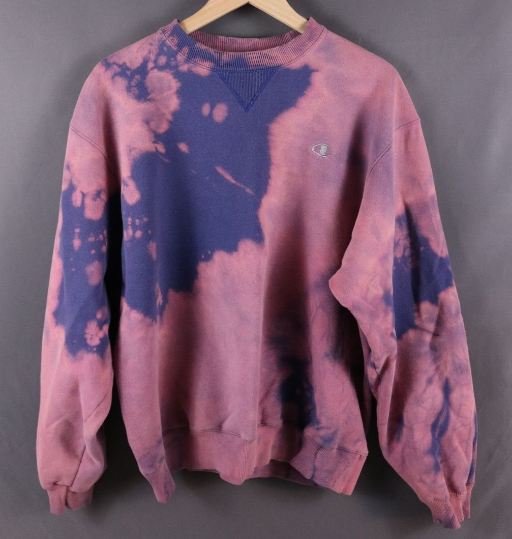 70271a23 Custom Bleached Purple Champion Pullover Crew Sweatshirt | Do It ...