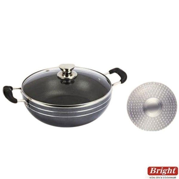 Bright Deep Kadai Buy Bright Non Stick Deep Kadai With Glass Lid With Induction Base 2 5 Ltr 3 0mm Online O Buy Kitchen Kitchen Items Kitchenware