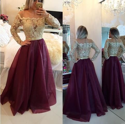 Long sleeve prom dress, A line prom dresses, Gold prom dresses, prom dresses 2016, cheap prom dress, 15128