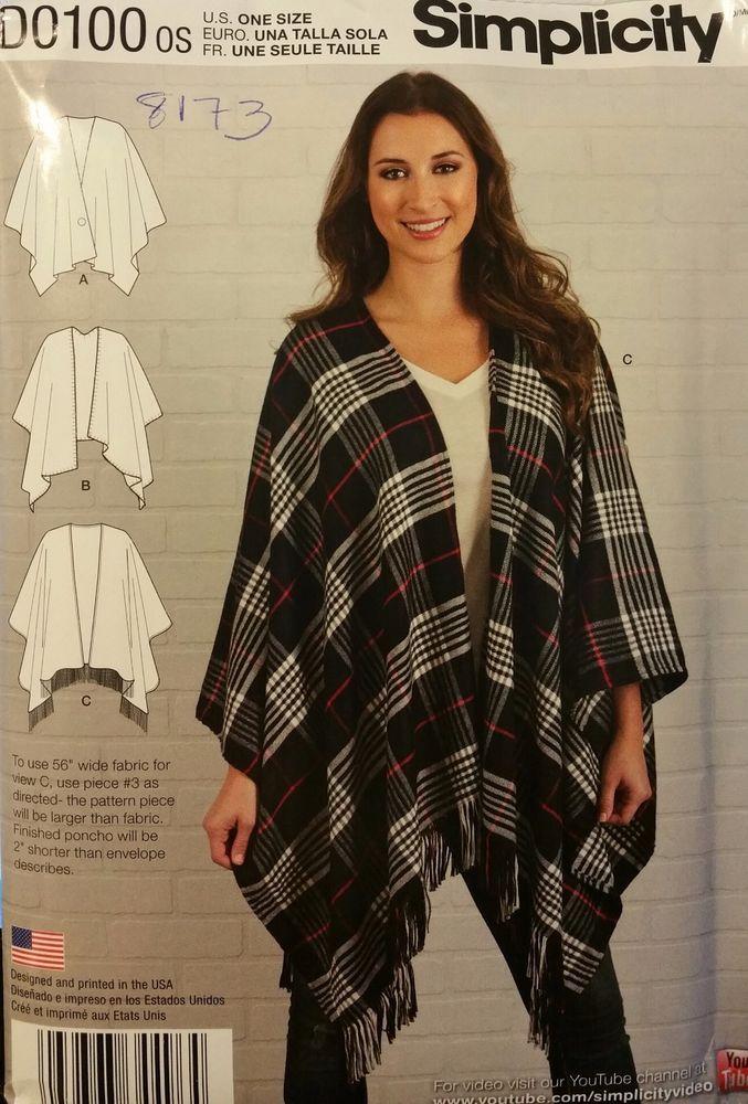 d4fb32745 Simplicity Pattern D0100 / 8173 Misses' Fleece Poncho Wraps one size fits  most
