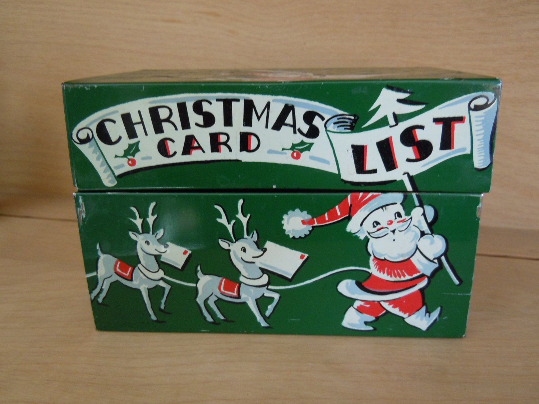 Vintage Christmas Collectibles ~ Christmas Card List Tin Box