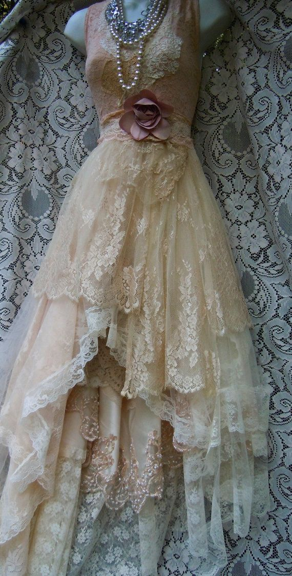 Cream wedding dress lace crochet champagne tulle fairytale vintage ...