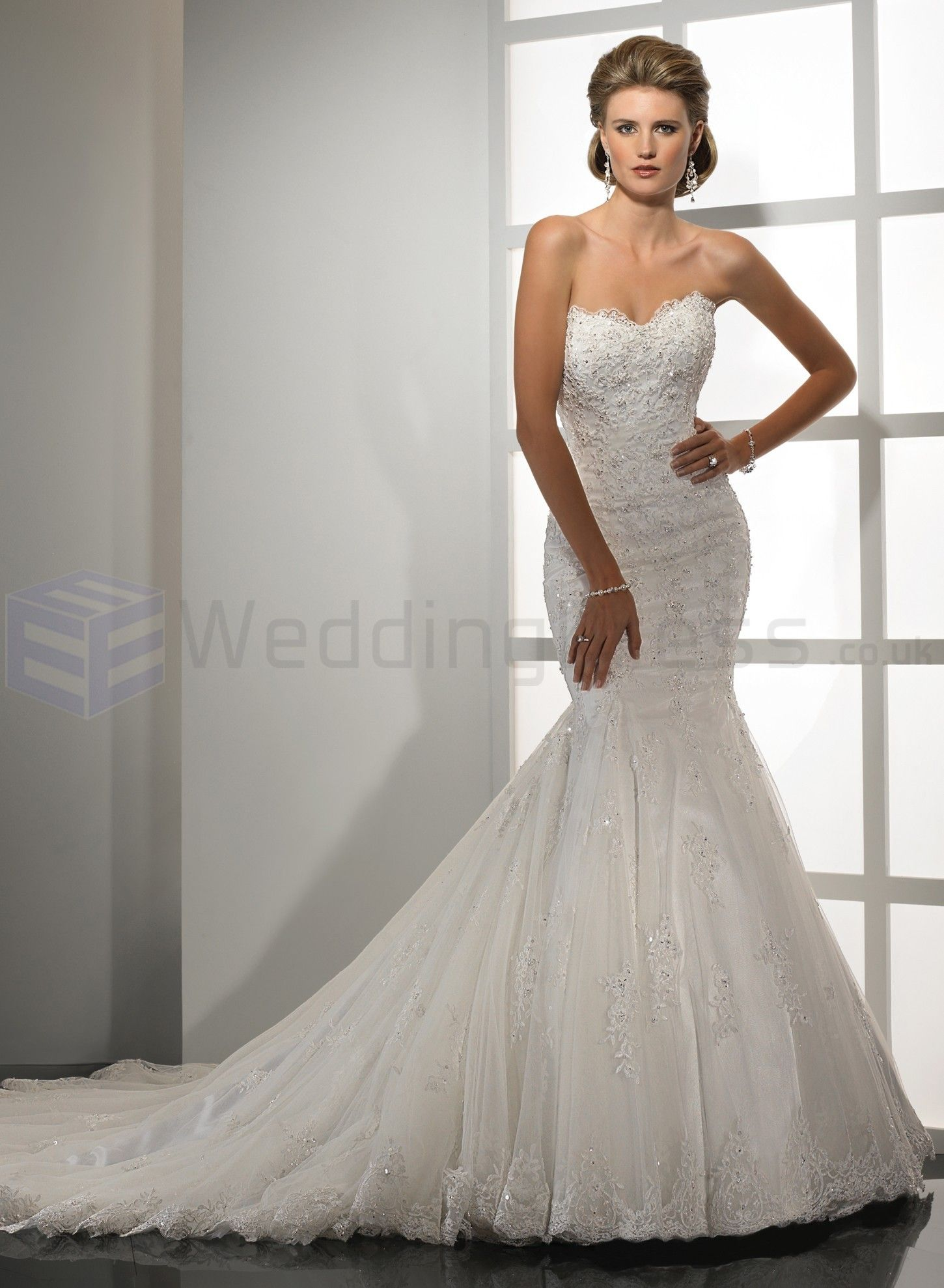 splendid embellished lace and tulle sweetheart neckline mermaid