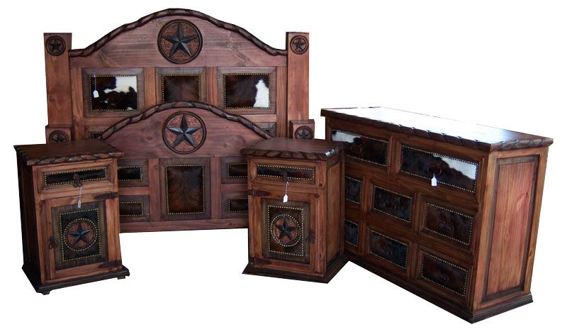 Beautiful Dark Stained Star Bedroom Set With Cowhide Accents By Western Furniture