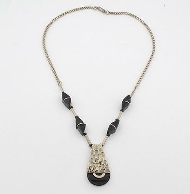 Jakob-Bengel-Galalith-Chrome-Art-Deco-Necklace