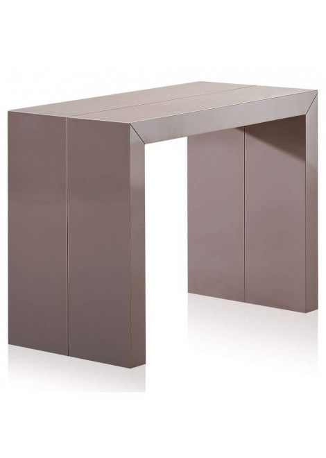 Table Console Laquée Taupe Kina XL