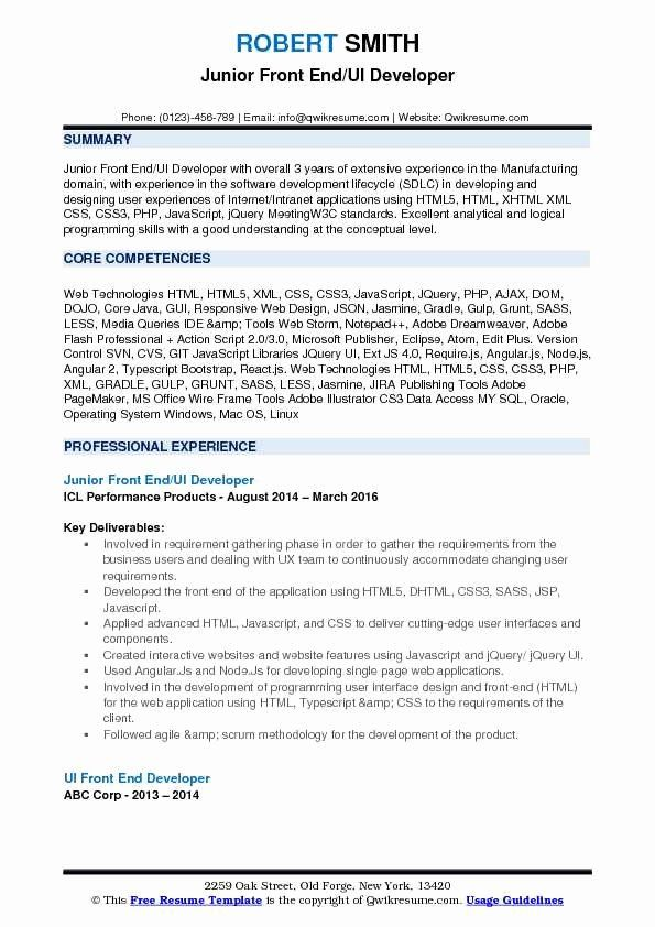 23 Front End Developer Resume Example In 2020 Good Resume Examples Sales Resume Examples Resume Examples