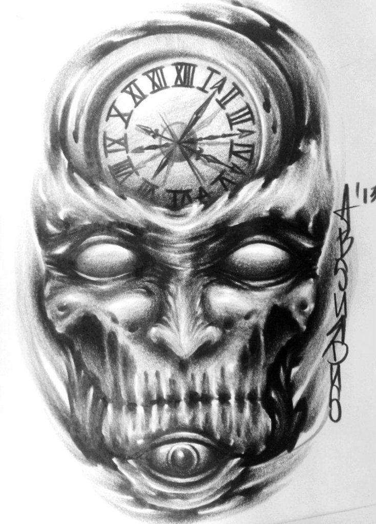 ae6a43f5e Scary Clock Skull Tattoo Design | Tattooes I would like to have ...