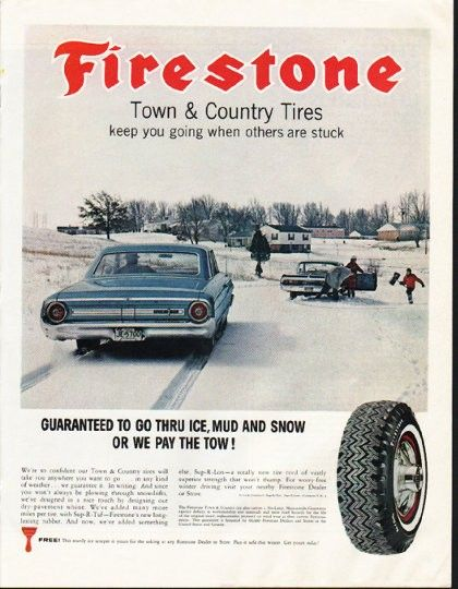 1964 Firestone Tires Vintage Ad Town Country Tires 自動車