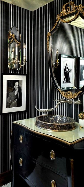 Art Deco Powder Room With Gold Leaf Ceiling Glass