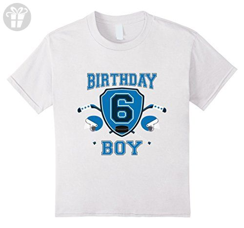 Kids 6th Sixth 6 Six Years Old Happy Birthday Boy Hockey T Shirts 8 White