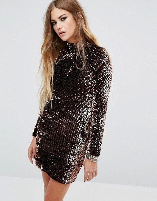 Motel backless bodycon dress with high neck in velvet sequin