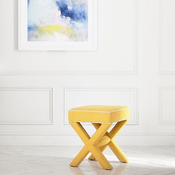 PB Teen X-Frame Ottoman Stool, Linen Blend Yellow With White Piping at... ($100) ❤ liked on Polyvore featuring home, furniture, studded furniture, pbteen, nailhead furniture, pbteen furniture and yellow furniture