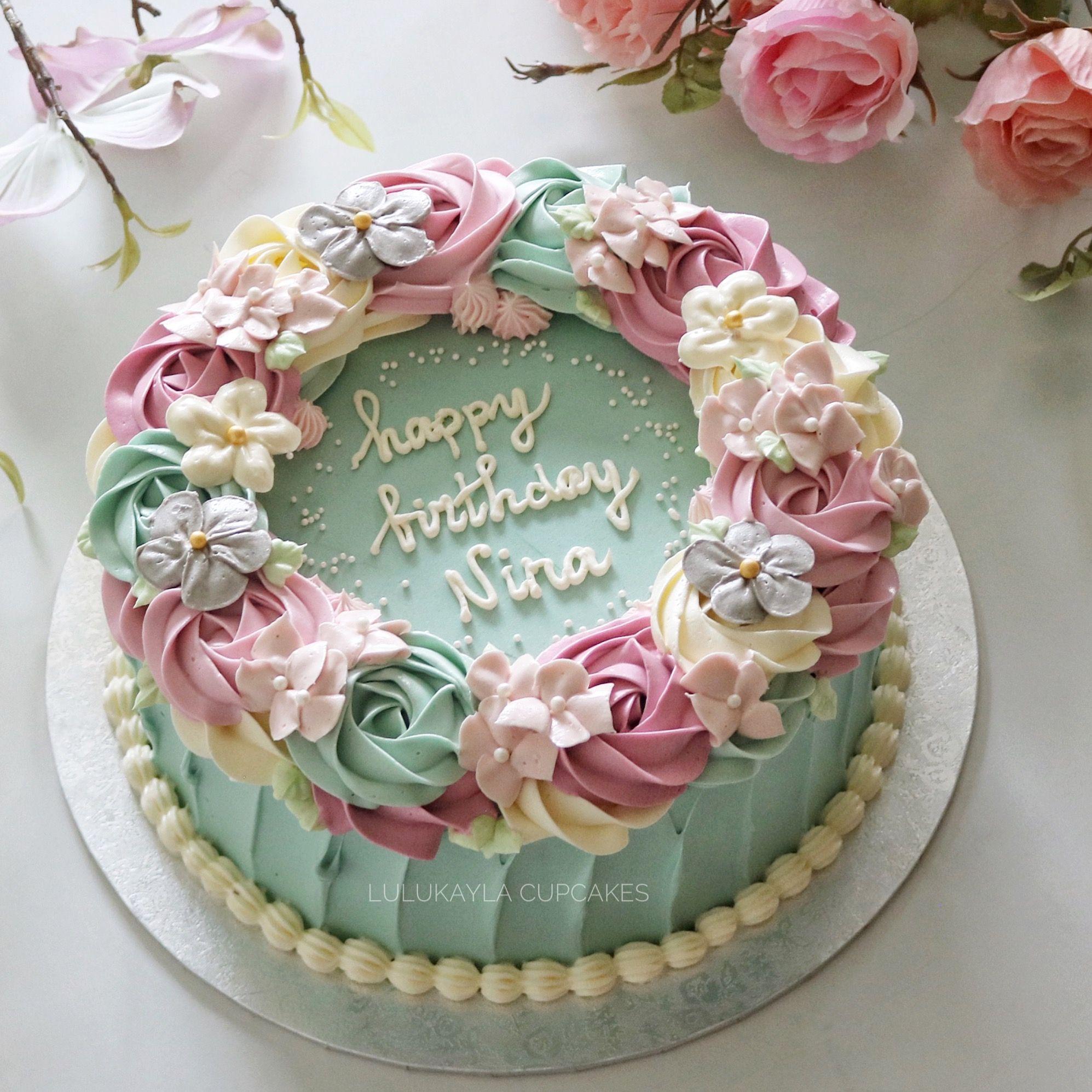 Flower Buttercream Cake Birthday Cake With Flowers Flower Cake
