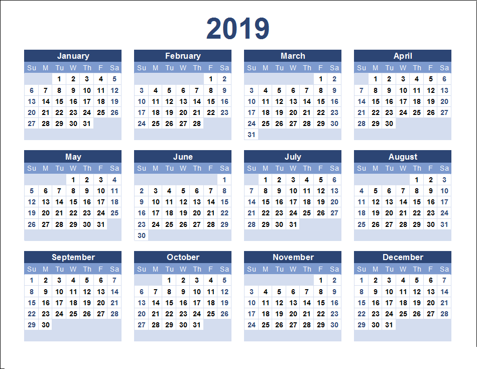 2019 calendar template excel