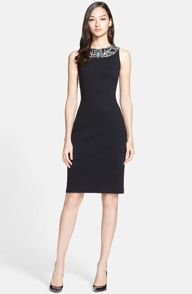 ca63fcde36dd St. John Collection Embellished Neck Milano Knit Sheath Dress available at   Nordstrom