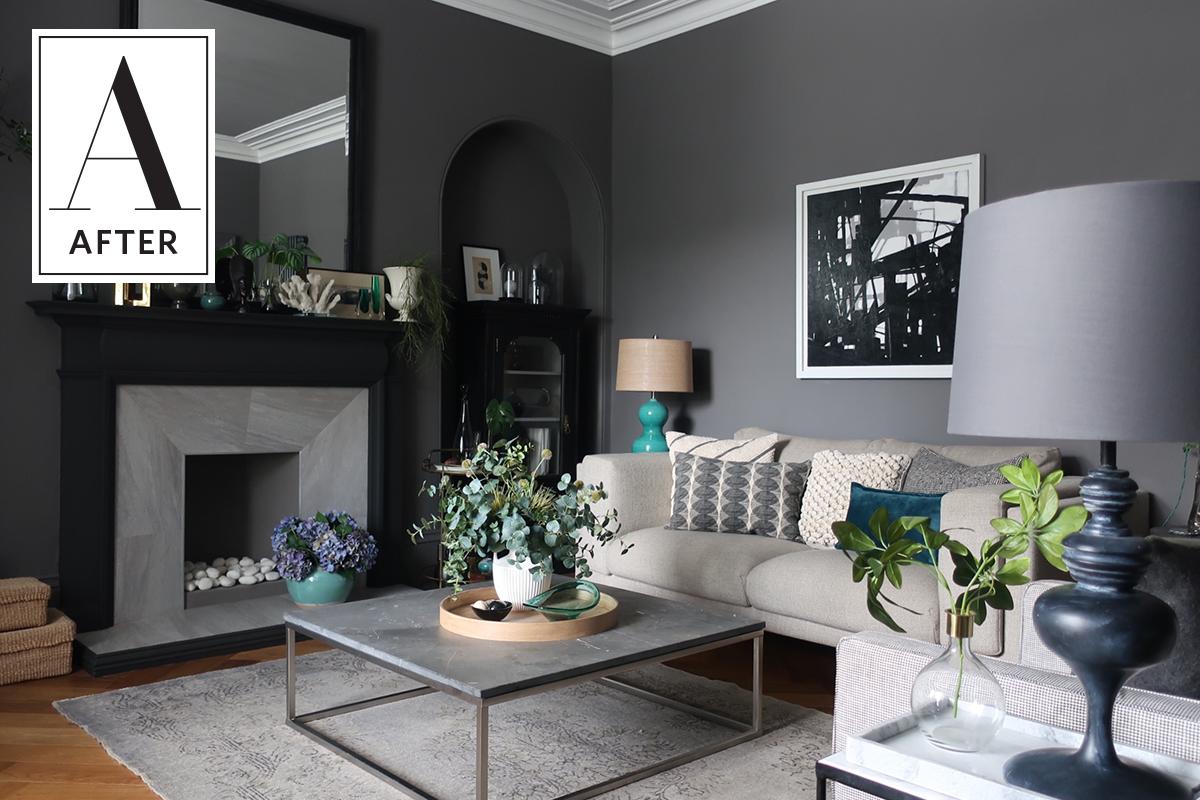 Before U0026 After: A Dated U002770s Living Room Gets Dark U0026 Dreamy
