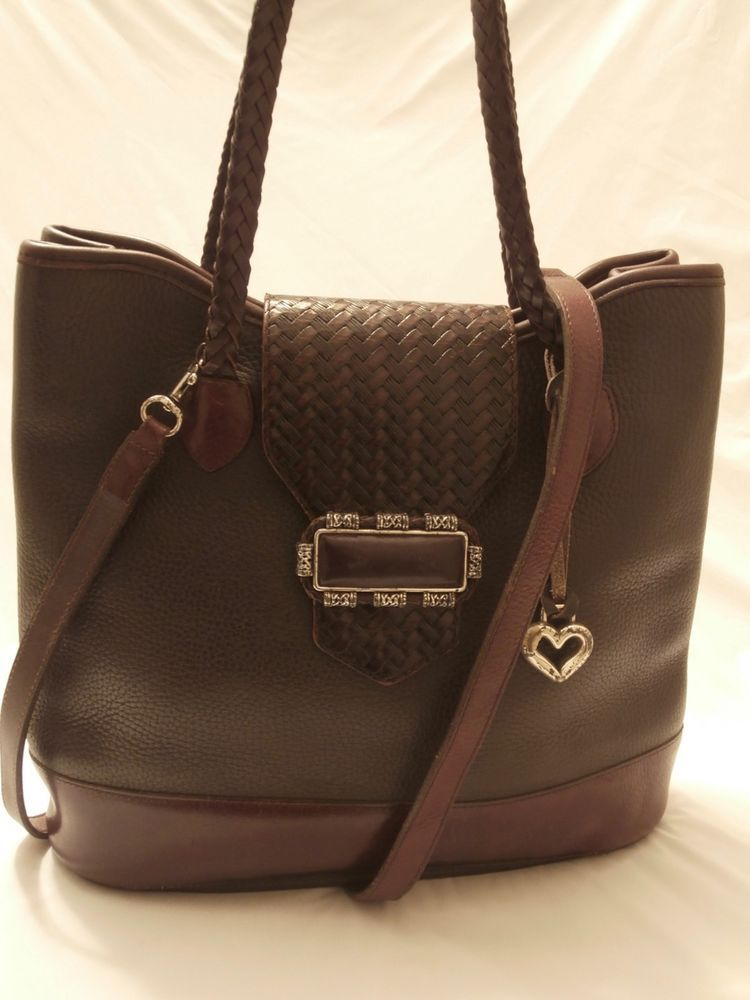 Brighton Dark Brown Pebbled Leather Tote Handbag Fashion Clothing Shoes Accessories