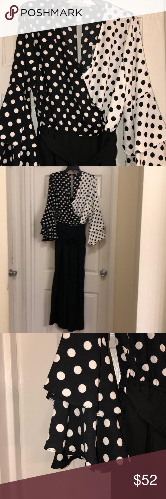 82fff41e466 River Island Plus Polka Dot Frill Sleeve Jumpsuit Monochrome style ...