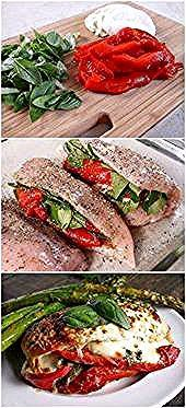 Photo of Roasted Red Pepper, Mozzarella and Basil Stuffed Chicken — …