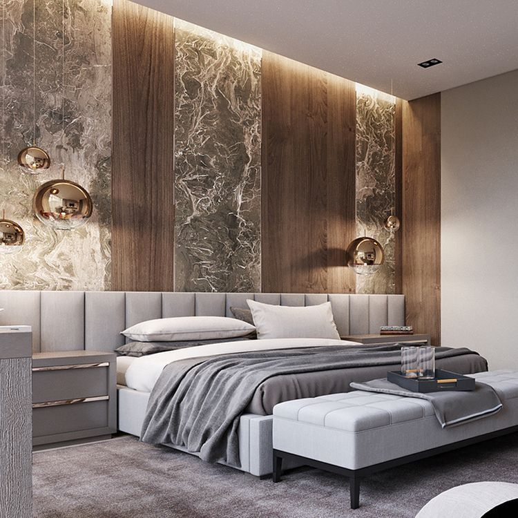 Modern Furniture 2014 Amazing Master Bedroom Decorating Ideas: Grey Bedroom With Extra Wide Headboard