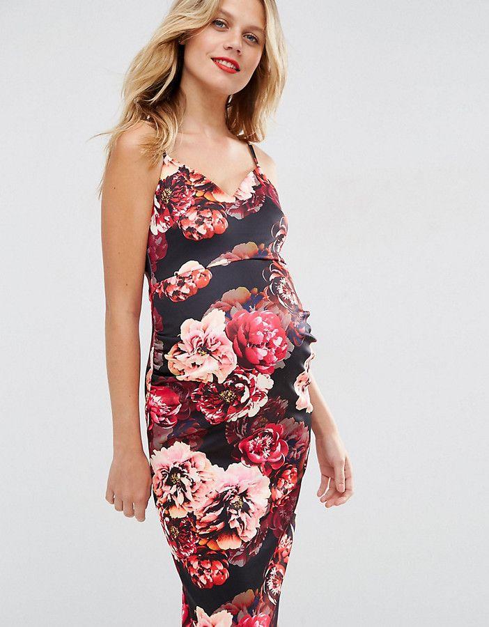 017b049f4ba Asos Floral Scuba Deep Plunge Midi Dress