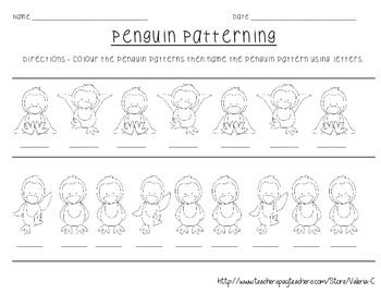 this super cute penguin patterning worksheet has students. Black Bedroom Furniture Sets. Home Design Ideas